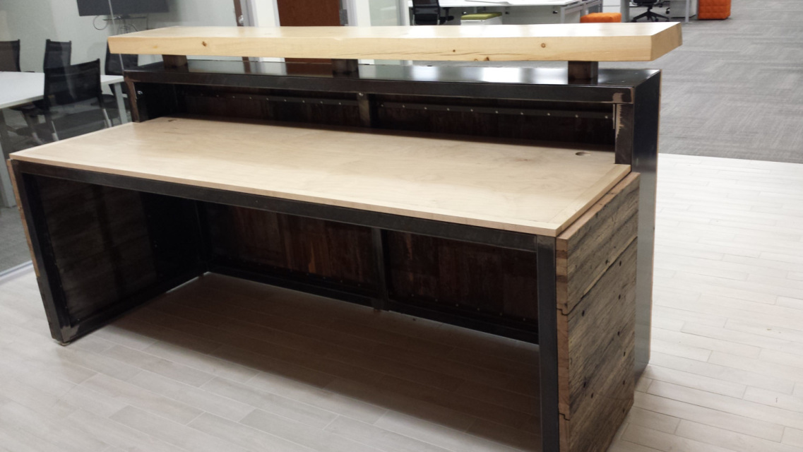 Modern Rustic Executive Reception Desk Hand Crafted From