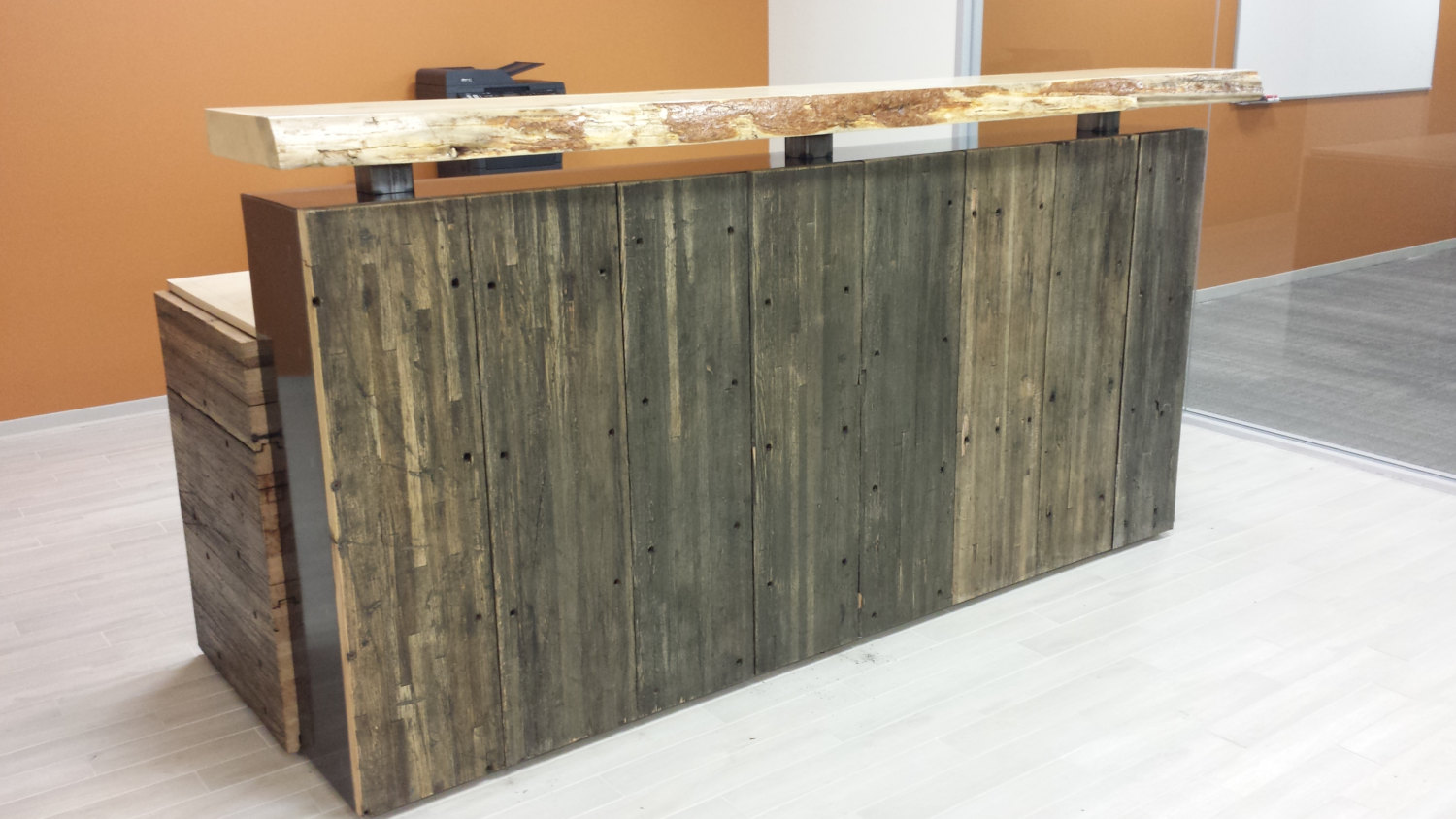Modern rustic executive reception desk hand crafted from for Reclaimed wood furniture portland oregon